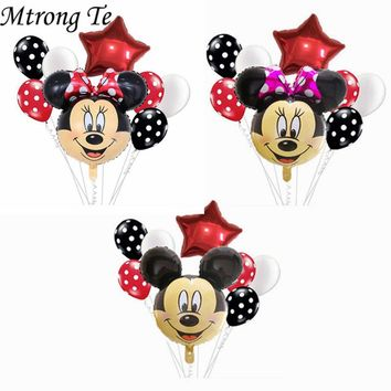 8pcs 18inch Minnie Mickey Mouse head Happy Birthday Foil Balloon Decoration Cartoon Party supplies 2.8g wave point latex Balloon