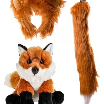 Wildlife Tree Stuffed Plush Red Fox Ears Headband and Tail Set with Baby Plush Toy Red Fox Bundle for Pretend Play Animals Dressup