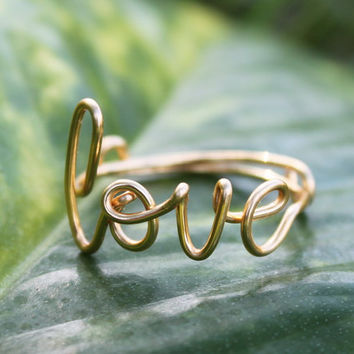 Gold Wire Love Ring  Adjustable Band  Dainty Ring by FabulousWire