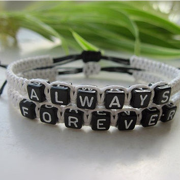 Always forever,Couples Bracelets Set, His and Hers Bracelets, Anniversary Gifts, Bridesmaid Bracelet