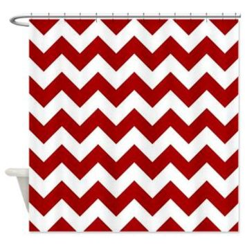 Red And White Chevron Stripe Shower Curtain> Red And White Chevron > KCavender Home Goods