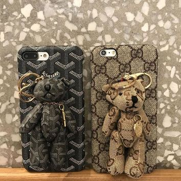 ONETOW Gucci / Goyard Bear PU Mobile Phone Shell iPhone Phone Cover Case For iphone 8 8plus iPhone6 6s 6plus 6s-plus iPhone 7 7plus
