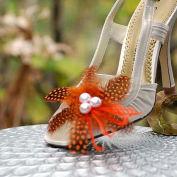 Shoe Clips Orange / Red / Blue & Black Guinea - Pearls. Big Day Bride Bridal Bridesmaid Couture, Statement Edgy Cheerful Fall Autumn Fashion