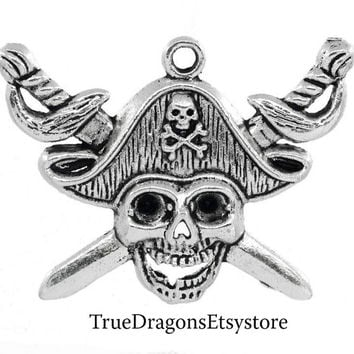 1 Pirate Skull Charm Pendant Swords Daggers Jolly Roger Large Pendant  117A