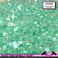 5mm 200 pcs AB AQUA BLUE Jelly Rhinestones Flatback / Decoden Crystal Phone Deco