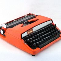 SALE - Vintage orange manual  typewriter Brother Deluxe 879