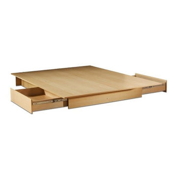 Full / Queen Size Maple Platform Bed Frame With Storage Drawers