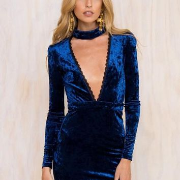Choker Mini Deep V-Neck Solid Dress Velvet Black Lace Sexy Club Dress 2016 Summer Sexy Slit Bodycon Full Sleeve Deep Blue Red