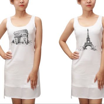France Hand Drawing Print 100% Cotton Fit Sporty Tank Tunic Hi-low Dress WDS_13