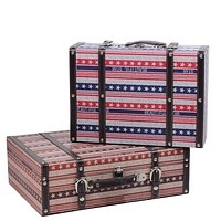 """Set of 2 Vintage-Style Red  White and Blue Beautiful Star Decorative Wooden Luggage Trunks 17.5"""""""