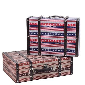 Set of 2 Vintage-Style Red  White and Blue Beautiful Star Decorative Wooden Luggage Trunks 17.5""