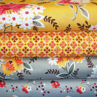 Flea Market Fancy Fat Quarter Bundle - Legacy - Denyse Schmidt - Free Spirit Fabrics - Designer Cotton Quilt Fabric - Gray, Orange, Fat Qtr