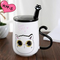 Cute Korean Ceramic Cat Mug With Lid And Spoon Included