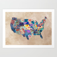 USA map art 2 #usa #map Art Print by jbjart