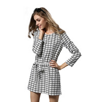 Plaid  Loose Preppy Dress