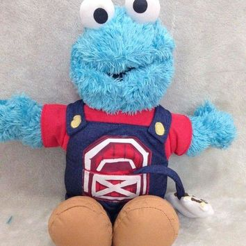 PEAPON Animation Cartoon Hot ! Sesame Street COOKIE MONSTER 40cm Soft Plush Doll Toy Blue