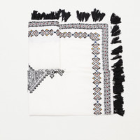 Embroidered jacquard scarf