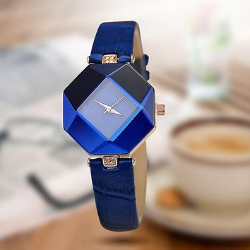 5color jewelry watch fashion gift table women Watches Jewel gem cut black surface geometry