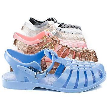 Suzy02K Blue Pvc By Soda, Children Girls Jelly Round Toe Fisherman Sling back Flat Sandals