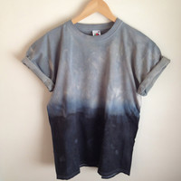 Dip Dye Tie Dye T-Shirt Unisex, Grey and Black/Navy