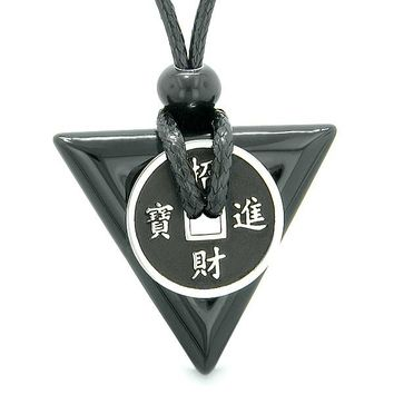 Amulet Lucky Coin Charm Triangle Pyramid Powers Black Agate Spiritual Good Luck Pendant Necklace