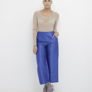 THE JETSETTER SATIN WIDE LEG PANT - BLUE