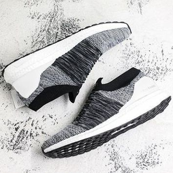 Adidas Ultra BoostT Laceless Comfortable Socks Running Shoes Breathable Sneakers Knitting   Grey/white soles