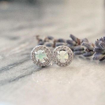 Round Simulated Opal Halo CZ Sterling Silver Stud Earrings