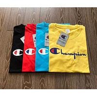 Champion Stylish Classic Women Men Casual Logo Print Short Sleeve Pullover Top(4-Color) I-XMCP-YC