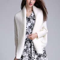 White Batwing Sleeve Knitted Cardigan