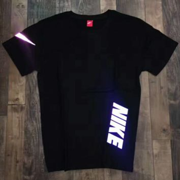 """ Nike""Fashion Monogram Print Luminous Casual Short Sleeve Shirt Top Tee Blouse G-A-XYCL"