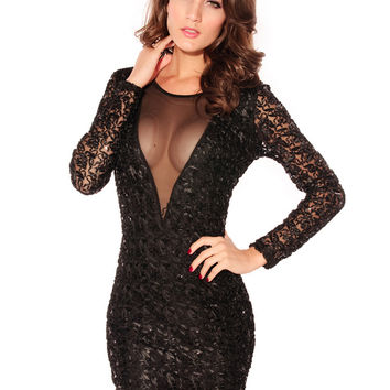 Black Sequined Lace Long Sleeve Bodycon Mini Dress with Mesh Accent