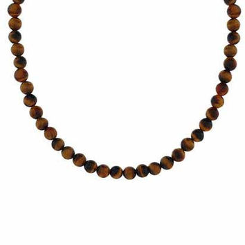 "Sterling Silver 4mm Genuine Tiger Eye Stone Bead Beaded Chain 15-19"""" Necklace"