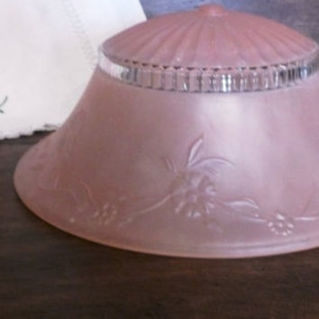 Vintage Pink Frosted Light Fixture