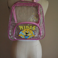 Vintage Clear Midas Backpack - 90's - Rave - Club Kid - Vinyl - See Through - Plur - Kawaii
