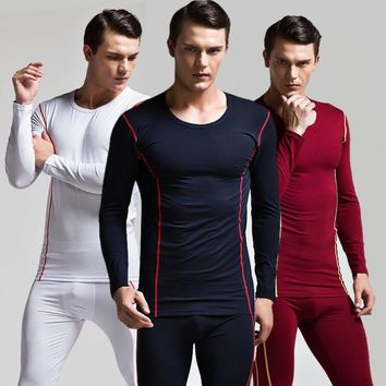 Superbody tops+pants Fashion compression Men quick-drying breathable Long Johns Fitness Underwear Body Shapers Thermal Underwear