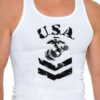 USA Military Marine Corps Stencil Logo Mens Ribbed Tank Top