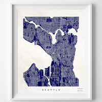 Seattle, Washington, Map, State, Print, Beautiful, Nursery, Poster, Wall Decor, Town, Illustration, Room, Art, World, Street [NO 533]