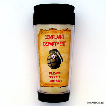 Fun Complaint Department Grenade Office Work Travel Mug