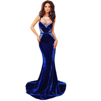 Elegant Fishtail Lace Patchwork Long Dress Strapless Floor Length Velvet Maxi Dress 2016 New Women Sexy Prom Party Dresses C2324