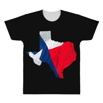 Eroded Texas Map With Flag All Over Men's T-shirt