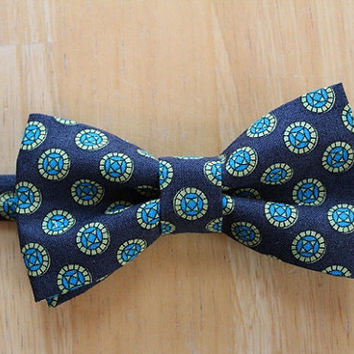 Navy Blue Men's Bow Tie with Teal and Green Polka Dot