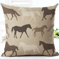 Running Horses Pillow Cover