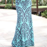 Aqua And Gray Printed Maxi Skirt
