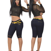 Dark Capris with Gold Apliques