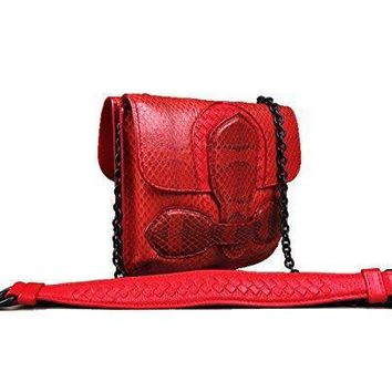 Bottega Veneta Red Intercciato Snakeskin Double Sided Rialto Cross Body Clutch Bag Handbag Purse