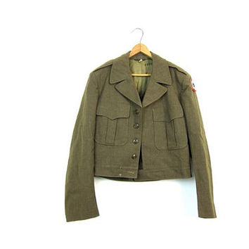 Vintage 1950s Military Jacket Drab Green WOOL WWII Army Field Jacket Cropped Cargo Commando Jacket Patches Camo Mens Size Small Medium 38 R