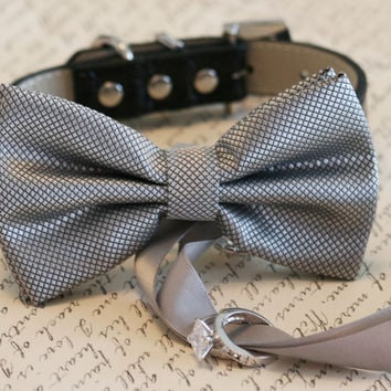 Silver Dog Bow Tie, Dog ring bearer, Pet Wedding accessory, Pet lovers, Silver bow attached to black leather dog collar, Silver wedding idea