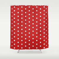 Polka dot pattern, classic red, dotted, retro style design, points, circles, ovals, vintage pin-up Shower Curtain by hmdesignspl
