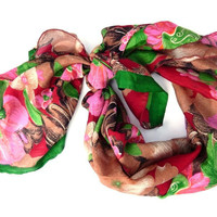Soft Silk Floral Neck Scarf